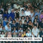 Hubert Family Tree Gathering Aug 1-3, 2015